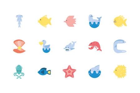 icon set design Sea life ecosystem fauna ocean underwater water nature marine tropical theme Vector illustration