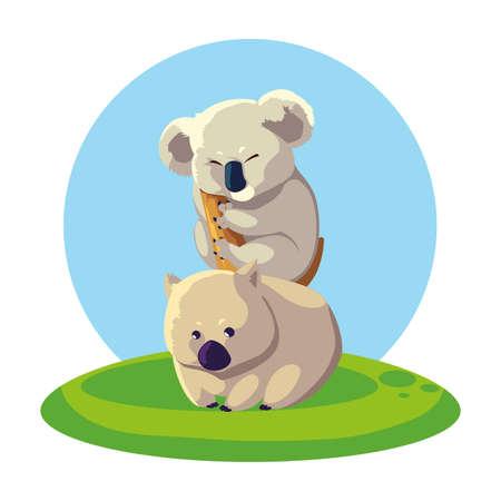 koala and wombat over landscape vector illustration design