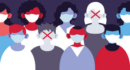 people with medical masks, protecting themselves against epidemic infection by coronavirus vector illustration design