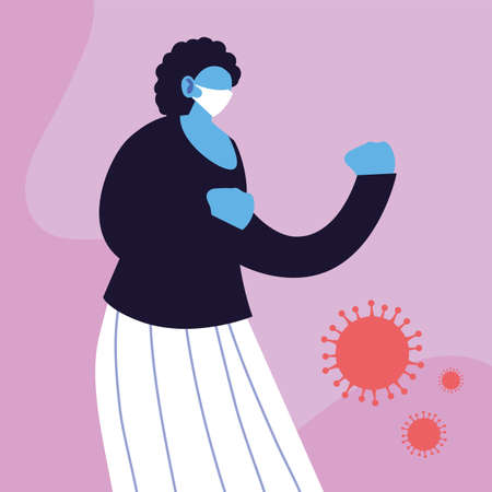 woman in medical face mask fighting coronavirus vector illustration design Illusztráció