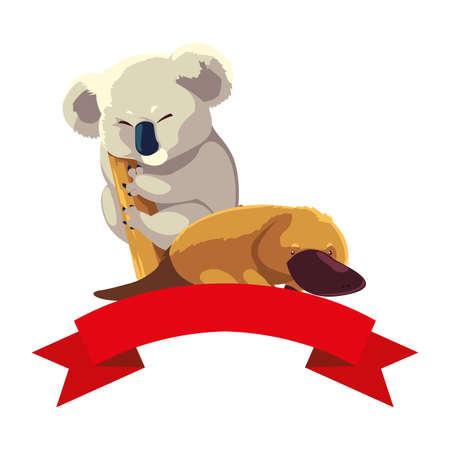 koala and platypus on white background vector illustration design