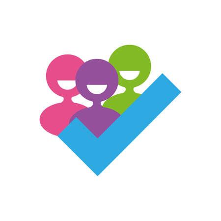 Avatars people and check mark of zero discrimination day, flat style icon vector illustration design