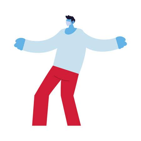 man compromised against increased coronavirus vector illustration design