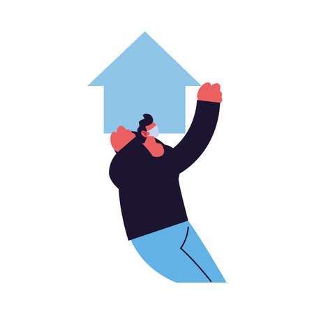 man takes care of his house vector illustration design Illusztráció