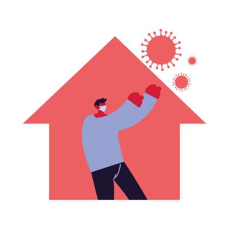 man at home against increased coronavirus vector illustration Illusztráció