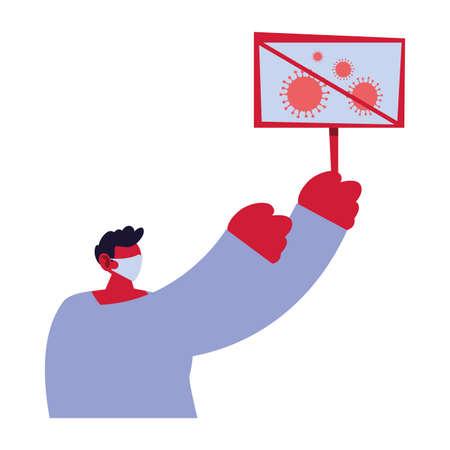 man warns of new coronavirus vector illustration design