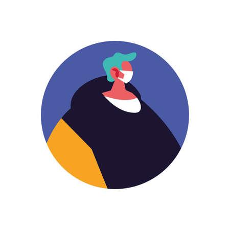 man with medical mask on white background vector illustration design