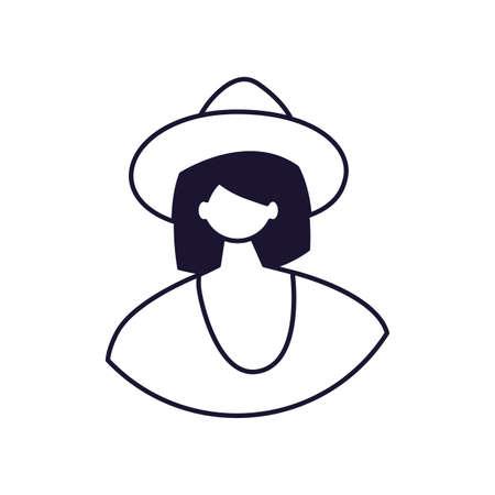 half body of female portrait line style icon vector illustration design