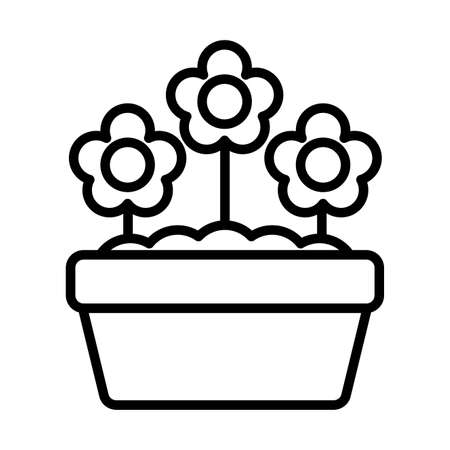potted flowers , line style icon vector illustration design Vettoriali