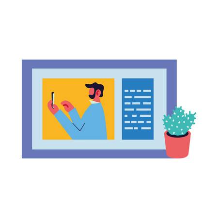 man working on video call vector illustration design