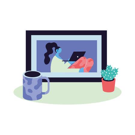 women working on video call vector illustration design