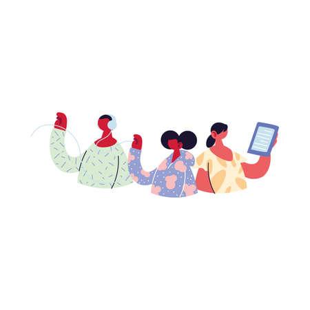 people sharing work methods online vector illustration design