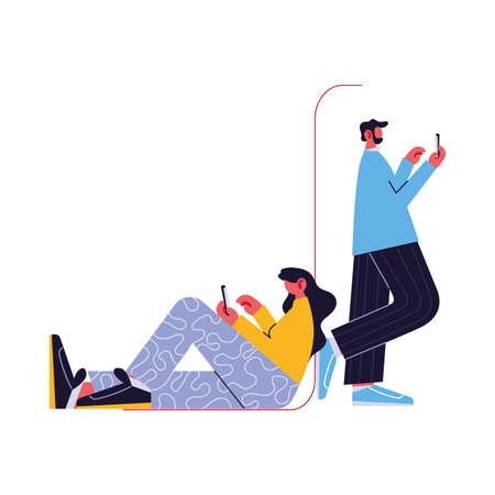 couple connected online by different electronic means vector illustration design Illustration