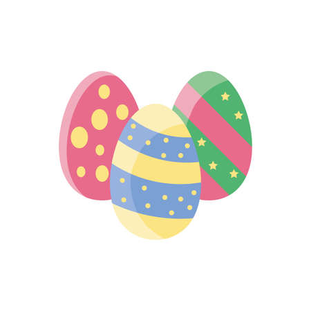 colorful easter eggs over white background, flat style icon, vector illustration