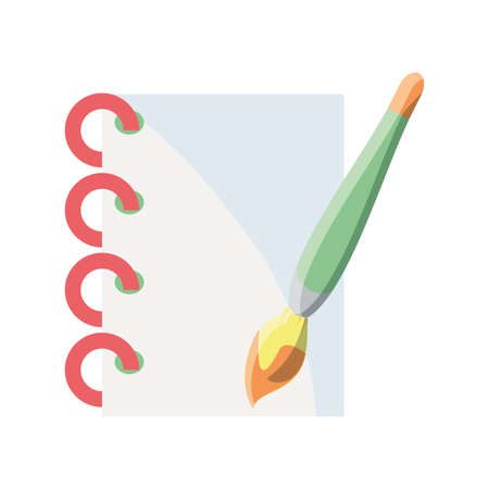 notebook with brush on white background vector illustration design