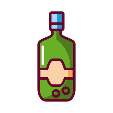 drink bottle icon over white background, fill style icon, vector illustration