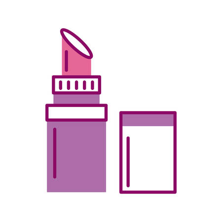lipstick open, half line and color style icon vector illustration design
