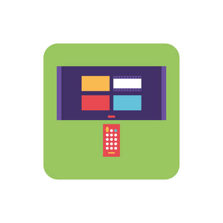 tv screen and and remote control in white background vector illustration design
