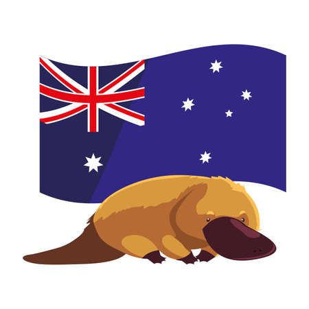 platypus with australian flag in the background vector illustration design