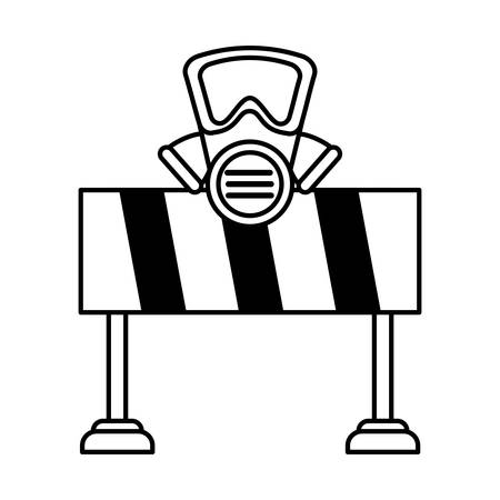 safety barrier with safety mask on white background vector illustration design Stock Illustratie
