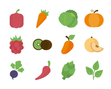 set of icons of fresh fruits and vegetables vector illustration design Illustration