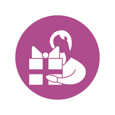 woman holding a gift box, silhouette style icon vector illustration design