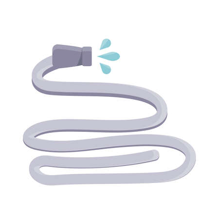 water hose icon over white background, flat detail style, vector illustration