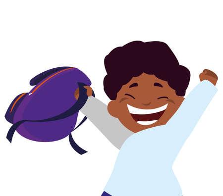happy little black schoolboy with schoolbag character vector illustration design Ilustração Vetorial