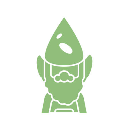 cartoon gardening gnome icon over white background, silhouette style, vector illustration