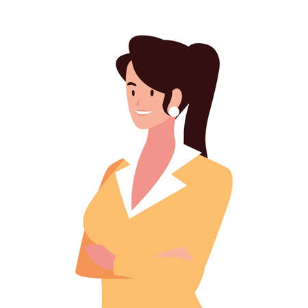 businesswoman smiling on white background vector illustration design Vectores