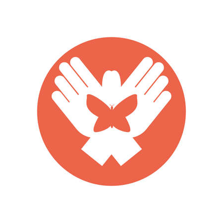 Hands with butterfly design of Zero discrimination day awareness help support campaign love life care and solidarity theme Vector illustration