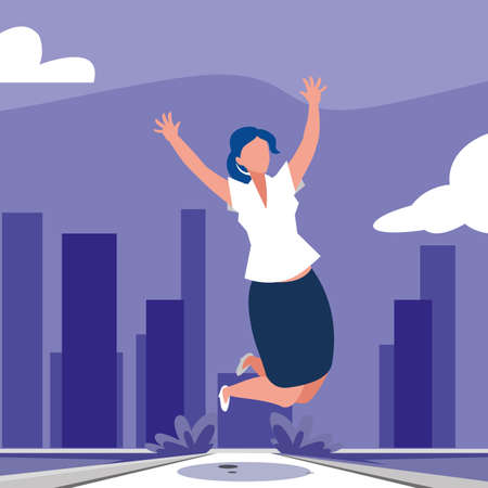 businesswoman celebrating victory, business professional woman vector illustration design Foto de archivo