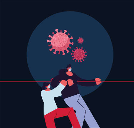 couple compromised against increased coronavirus vector illustration design