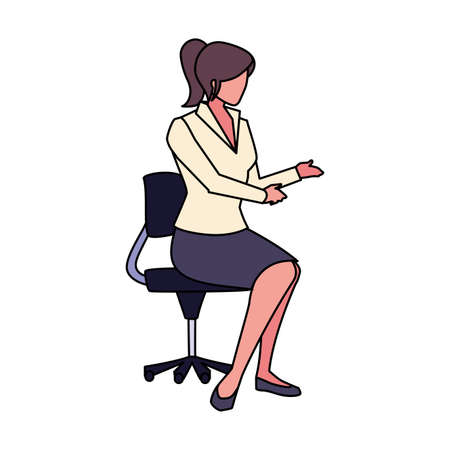 businesswoman sitting in office chair on white background vector illustration design Foto de archivo