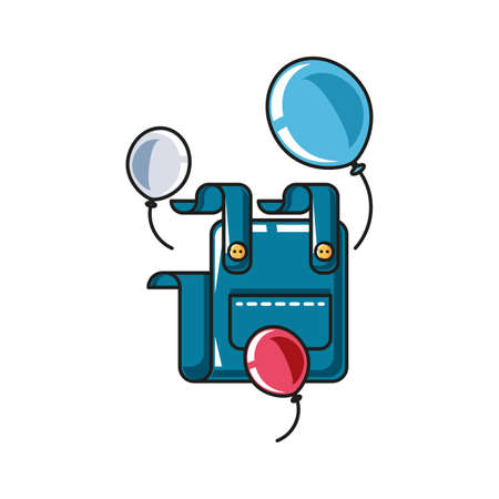 overall uniform clothing with balloons helium vector illustration design
