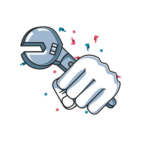 wrench key tool with hand fist power illustration design