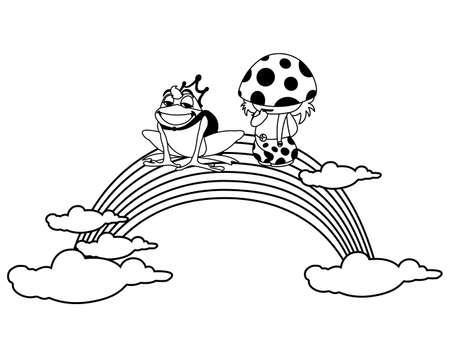 toad prince and fungu elf with rainbow vector illustration design Banco de Imagens