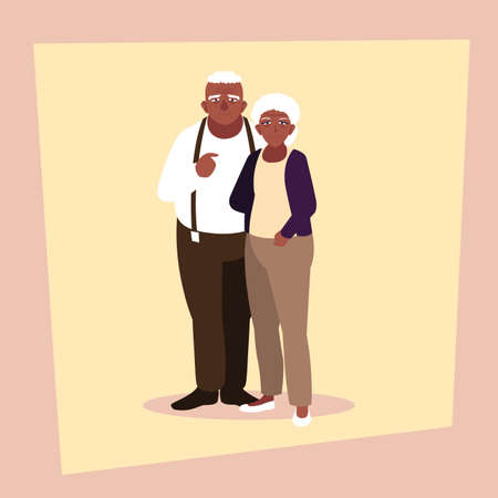 adorable old couple sharing at home vector illustration design Фото со стока