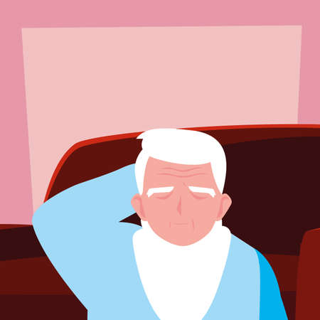 elderly man takes care of himself at home vector illustration design Фото со стока
