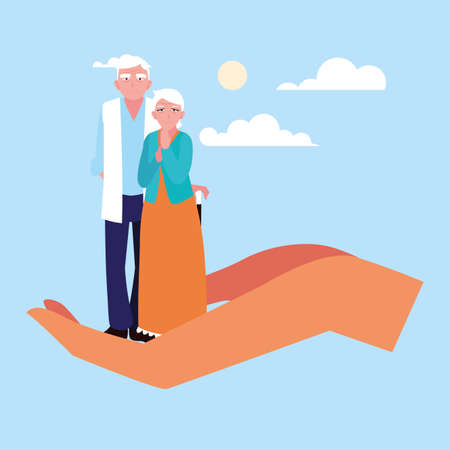 let's take care of older couple vector illustration design Фото со стока