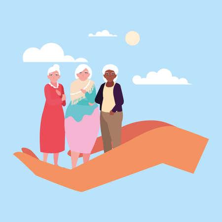 let's take care of the old women vector illustration design
