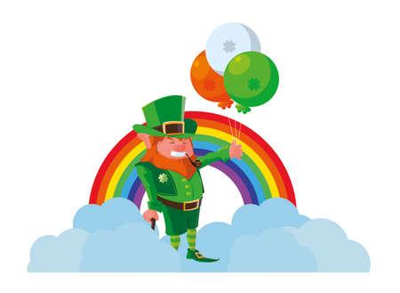 saint patrick lemprechaun with balloons helium and rainbow vector illustration