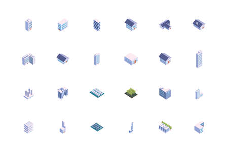 Isometric white buildings set design, City architecture urban modern downtown contemporary metropolis exterior and construction theme Vector illustration