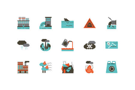 Industrial and pollution icon set design, environment dirty danger industry plant chemical and toxic theme Vector illustration