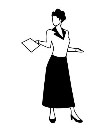 businesswoman standing on white background vector illustration design Foto de archivo