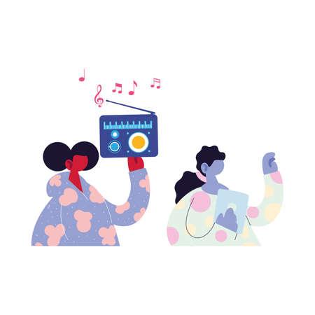 women listening music on the radio vector illustration design