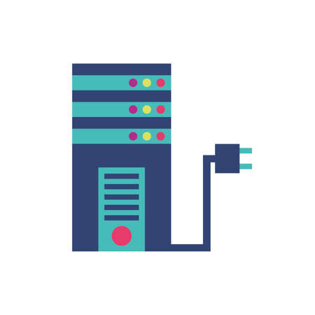 Web hosting and plug design, Data center base security system hardware technology protection and archive Vector illustration