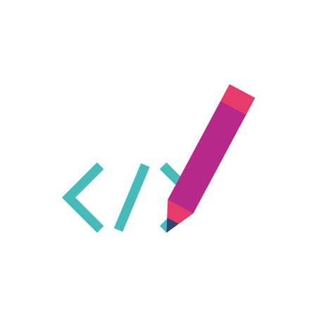 Website code and pen design, Programming web designer technology internet media modern and development theme Vector illustration Stock fotó