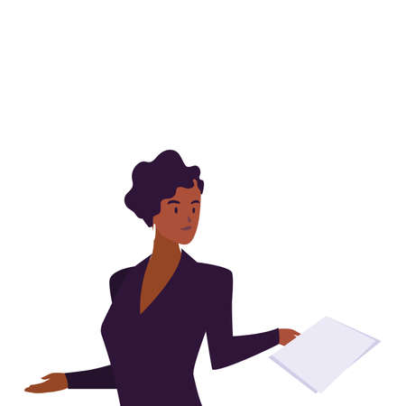 businesswoman smiling on white background vector illustration design Foto de archivo