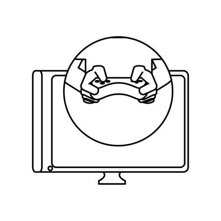 hands with control video game and tv vector illustration design